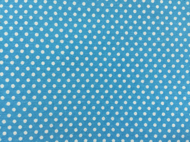 Cotton Fabric - Little White Dots on Blue Background