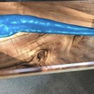 Resin Walnut blue river end table