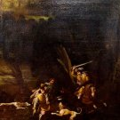 FROM XVII CENTURY - HUNTING SCENE. OIL ON CANVAS. NETHERLANDS.