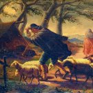 FROM XVIII-XIX CENTURIES - SHEPHERD WITH HERD IN THE STORM. OIL ON CANVAS SIGNED. SPAIN