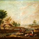 FROM ITALY. XVIII-XIX - LANDSCAPE WITH PEASANTS. OIL ON CANVAS.