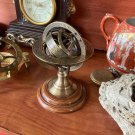 Antique Brass Armillary Zodiac Signs Globe Mini Wood Base Desktop Decorative