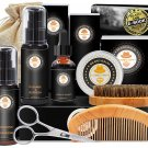 Beard Grooming Kit Conditioner Oil Balm Brush Shampoo/Wash Comb Scissors Storage Bag Gifts for Men