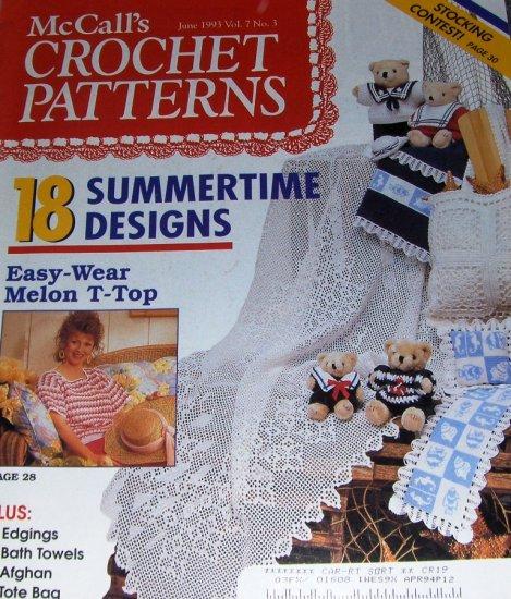 McCalls Crochet Patterns June '93 18 Summertime Designs, Dress Teddy Bear in Sailor Outfit