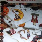 Cross Stitch Pattern Buttoned Up For the Holidays on Sweatshirts Book 5, Leisure Arts 2570