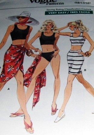 Vogue 7228 Bathing Swim Suit, Bikini and Wrap Sewing Pattern Size 12,14,16