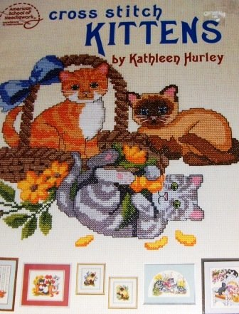 Cross Stitch Pattern Kittens, Siamese, Tiger, Playful cats in the flowers