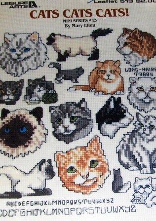 Cats Kittens Kitty Cat Mini Series Cross Stitch Chart by Mary Ellen Leisure Arts Pattern 513