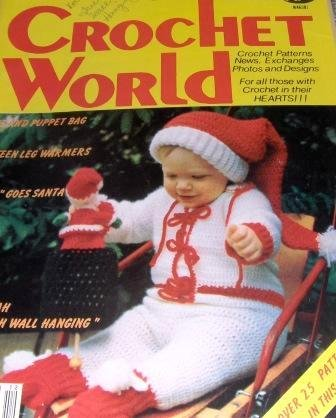 Crochet World Dec. 1983 Christmas Baby Santa hat, Hannukah Menorah Picture and More!