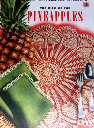 Pineappple Doilies Vintage thread Crochet Pattern , Edgings, Bedspread