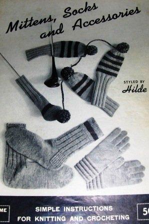 Mittens Socks Dog Sweaters Golf Mitts Gloves Scarves Vintage Hilde 117 Knitting Pattern