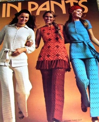 Pantsuits Crochet Pattern for Retro Tunics Pants Columbia Minerva 1970's Granny Squares Tunic Pants