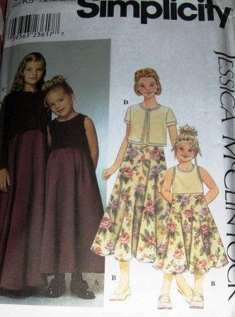 Flower Girl, Jr. Bridesmaid Dress Jessica McClintock Pattern Simplicity  9018 Size 7 to 14
