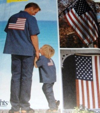 American Flag McCalls Sewing Pattern 7246 plus American flag aplliques both in two sizes
