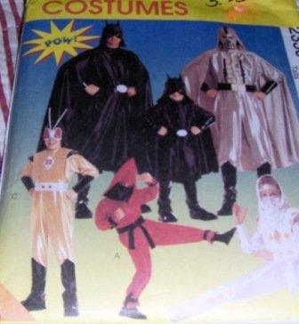 McCall's 2336 Halloween Costume Super Heroes costumes for child size 2,3 Ninjas, spacemen, batman