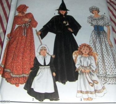 Simplicity 9982 Witch, Prairie Girl, Pilgrim girl, Angel costumes child size 2-12