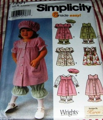 Toddler's Dress Bloomers Hat McCalls 7201 sizes 6 months to 4 years