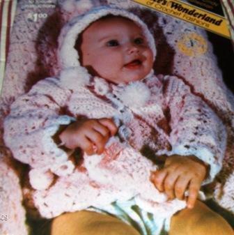 Infant Layette Alice's Wonderland of Crochet Fashions Baby Crochet Pattern Afghan, Jacket, Cap