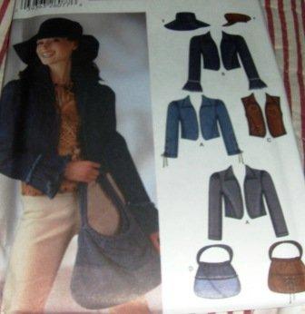 Junior Simplicity Sewing Pattern 5836  Jacket Hat Purse Vest Pattern Size 3/4 to 9/10  UNCUT