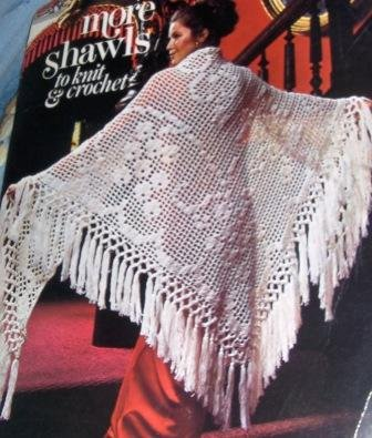 Vintage Shawls Wraps Leisure Arts 73 More Shawls to Knit and Crochet pattern Grapevine Filet, Ripple