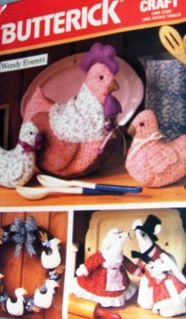 Country Mice, Chickens Country Kitchen decor Wendy Everett Craft Sewing Pattern Butterick 5752
