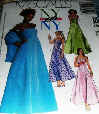 McCall's Teen Prom Gown Bridesmaid Gown Evening Gown Stole Sewing Pattern 3505 Size 3/4 to 9/10