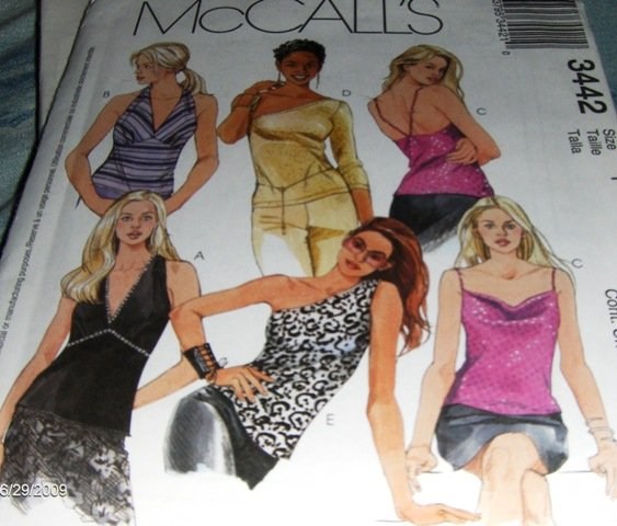 Halter Tops Camisole Sewing Pattern McCall's 3442 Size X-Small 4-6 bust 29 1/2 to 30 1/2