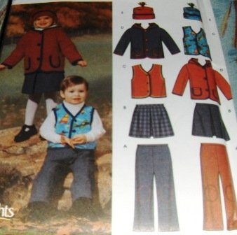 Babies Toddlers jacket pants skirt vest hat sewing pattern boys girls Simplicity 5831 sizes 1/2 - 4