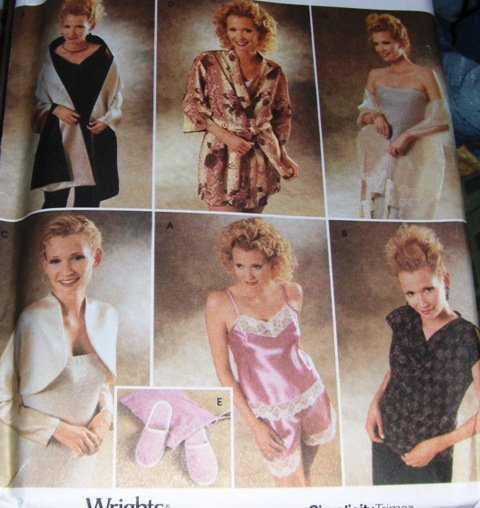 Camisole Tap Pants Shrug Wrap Robe Slippers Sewing Pattern Simplicity 9961 Size XXS to Small 4-12