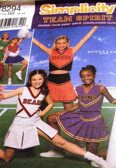 Girls Cheerleading Uniform Simplicity 8294 Team Spirit Size 12,14 Sewing Pattern Skirt top