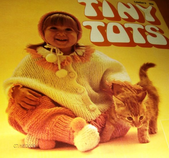 Tiny Tots Outfits Crochet Knit Leisure Arts Pattern Leaftlet 9 easy knit ponchette  baby boy set