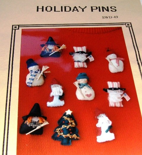 Holiday Pins Santa Snowman Witch Uncle Sam Christmas Tree Sewing Pattern by Connie Spurlock