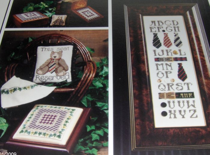 Teddy Bear Cross Stitch Pattern The Cricket Collection No.84 Regimental Stripes