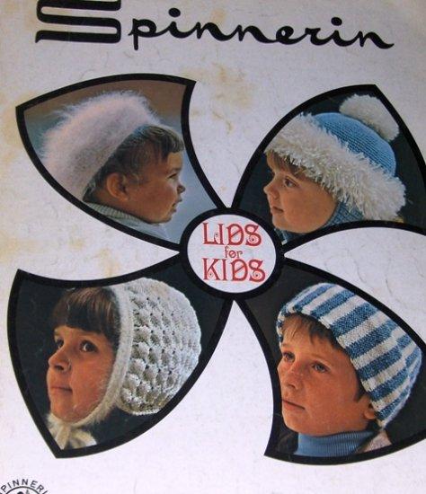 Children Hats to Crochet or Knit LIDS FOR KIDS Spinnerin Vintage Pattern Vol. 212