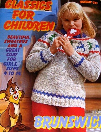 Classics for Children knitting patterns ski sweaters flower sweater  Brunswick Sizes 4 to 14