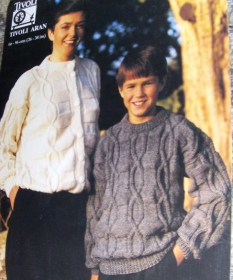 Tivoli Aran Crew Neck Pullover and Sweater Knitting Pattern for Women and Children