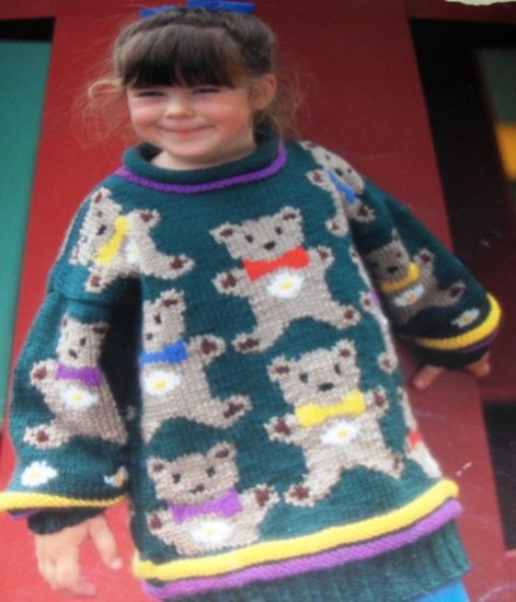 Teddy Bear Sweater Knitting Pattern sizes for child 3 to 8 Graph pattern by Cynthia Helene Range