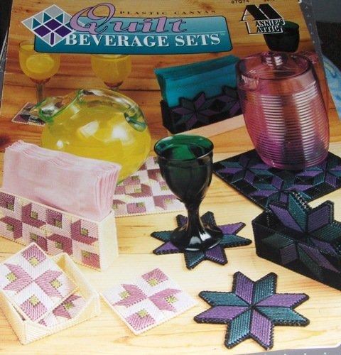 Annie's Attic Plastic Canvas Pattern Quilt Beverage sets, Coasters, Napkin Holders, Pitcher mat