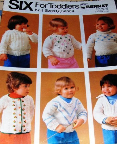 Knitting Patterns  Childrens Sweaters  Six for Toddlers by Bernat