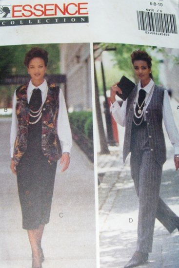 Butterick 6410 Sewing Pattern Office Wear Shirt Vest Ascot Pants Skirt  size 6 8 10