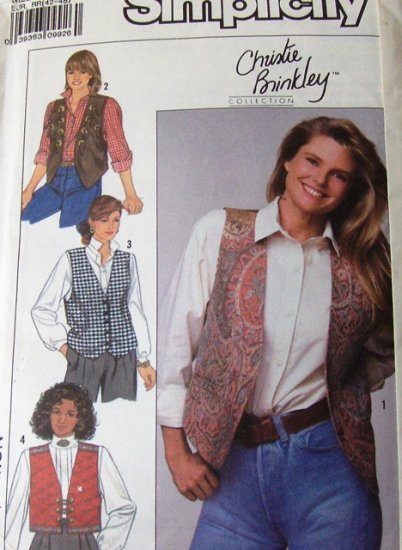 Vest Sewing Pattern Size 14 thru 20 Simplicity 0640 Christie Brinkley featured pattern