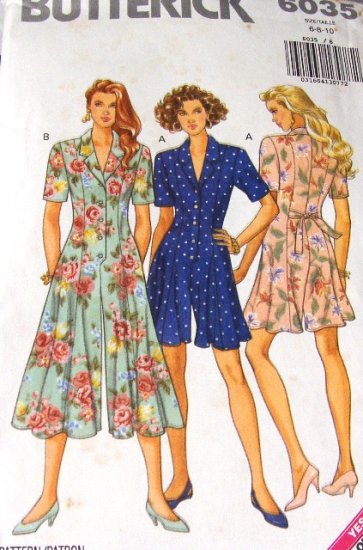 Culotte Dress Pattern Butterick 6035 sizes 6, 8, 10 shorts and dress in one.