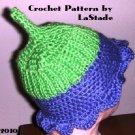 Flower Power Pixie Hat Crochet Pattern For Baby size 6-12 months Easy to Crochet LaStade-Designs
