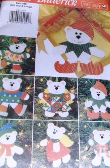 Christmas Tree Holiday Ornaments Butterick Crafts 4604 Pattern No-Sew Bear Felt  and cloth