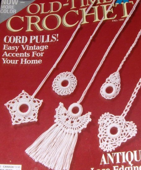 Old Time Crochet Magazine Fall 1990 Vintage Patterns curtain pulls market bag lacy scarf