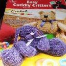 Annie's Attic Crochetenit Pattern Cuddly Critters Elephant Bunny Bear Kitten Lamb Frog Toys crochet
