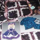 Crochet Pattern Chenille Yarn Pattern Pillow, Afghan, Purse, Doll, Scarf