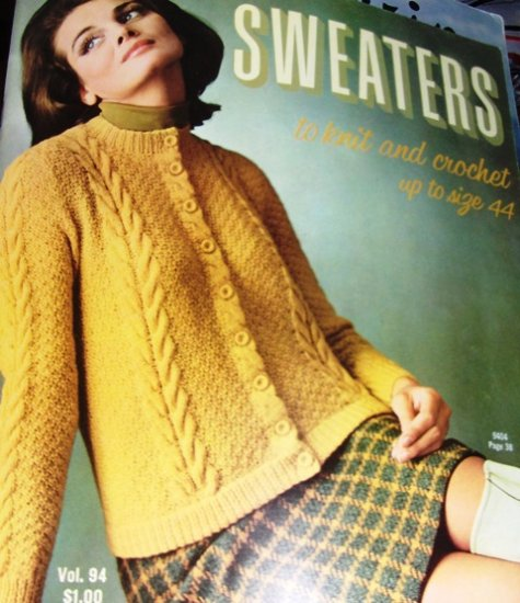Vintage Bear Brand Knitting Crochet Pattern Sweaters Cardigans Pullover Womens small  Extra Large