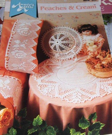 Annie's Attic Crochet Pattern Lace Doily Hat Pillow Case Edging Peaches & Cream Rose Filet Crochet