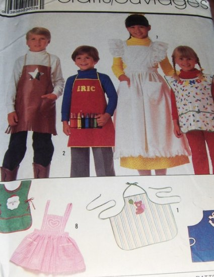 Children's Apron Pattern Pinafore Chefs Simplicity Sewing Crafts 7875 Applique